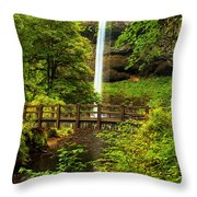 Silver Falls Bridge Throw Pillow