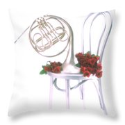 Silver French Horn On Silver Chair Throw Pillow