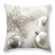 Silver Holiday Ornaments In Feathers Throw Pillow by Sandra Cunningham