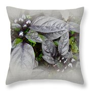 Silver Leaves And Berries Throw Pillow