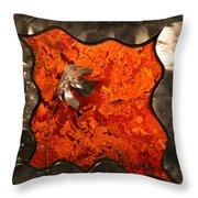 Silver Metal Flower On Orange Throw Pillow