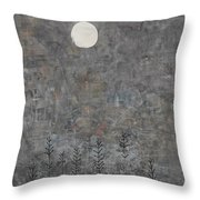 Silver Moon Throw Pillow