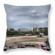 Simply North Beach From Tenby Harbour Throw Pillow