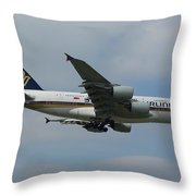 Singapore Airlines Airbus A380 Throw Pillow
