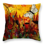 Singing Butterfly Throw Pillow