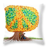 Singing Under The Peace Tree Throw Pillow