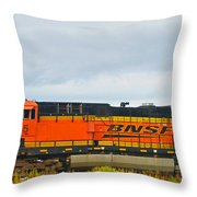 Single Bnsf Engine Throw Pillow