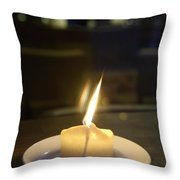 Single Candle Flame, Defocussed Throw Pillow