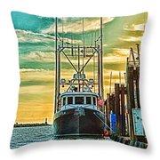 Single Fish Boat Hdr Throw Pillow