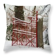 Single Red Gate Throw Pillow