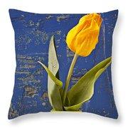 Single Yellow Tulip In Yellow Vase Throw Pillow