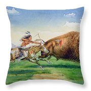 Sioux Hunting Buffalo On Decorated Pony Throw Pillow