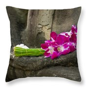 Sitting Buddha In Meditation Position With Fresh Orchid Flowers Throw Pillow