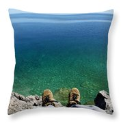 Sitting On A Cliff Throw Pillow