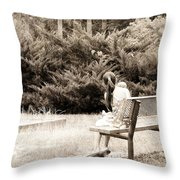 Sitting On The Bench Throw Pillow