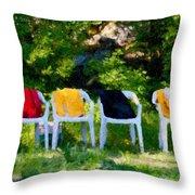 Six Summer Chairs Throw Pillow