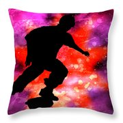 Skateboarder In Cosmic Clouds Throw Pillow