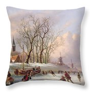 Skaters On A Frozen River Before Windmills Throw Pillow
