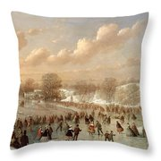 Skating Scene Throw Pillow