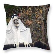 Skeleton Ghost Throw Pillow