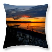 Skeloton Lake Sunset Hdr Throw Pillow