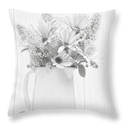 Sketched Vase Of Flowers Throw Pillow