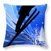 Ski Jumping In The Snow Throw Pillow