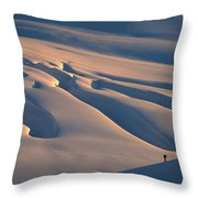 Skier And Crevasse Patterns At Sunset Throw Pillow
