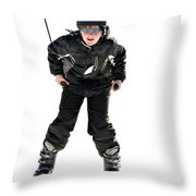 Skier Flying Throw Pillow