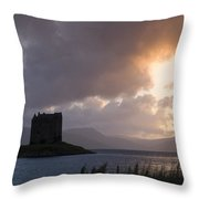 Skies Ablaze At Castle Stalker Throw Pillow