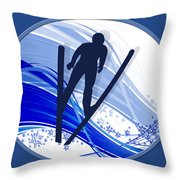 Skiing And Snowflakes Throw Pillow