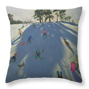 Skiing Throw Pillow by Andrew Macara