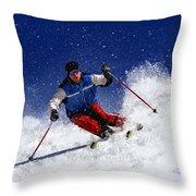 Skiing Down The Mountain Throw Pillow