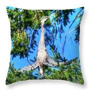 Puget Sound Great Blue Heron Skirt Wings Throw Pillow
