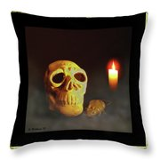 Skull And Candle Throw Pillow