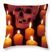Skull And Candles Throw Pillow