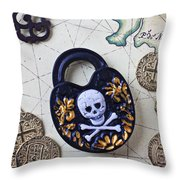 Skull And Cross Bones Lock Throw Pillow