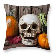 Skull And Gourds Throw Pillow