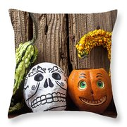 Skull And Jack-o-lantern Throw Pillow