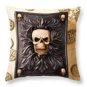 Skull Box With Skeleton Key Throw Pillow