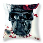 Skull N Rose Throw Pillow