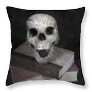 Skull On Books Throw Pillow by Joana Kruse