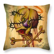 Skull With Halo Throw Pillow