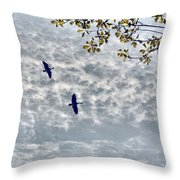 Sky Clouds And Geese Throw Pillow