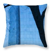 Sky Scraper Tall Building Abstract With Windows Tree And Reflections No.0066 Throw Pillow