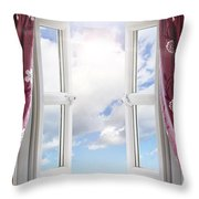Sky View Through Open Window Throw Pillow