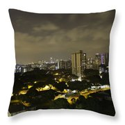 Skyline Of A Part Of Singapore At Night Throw Pillow