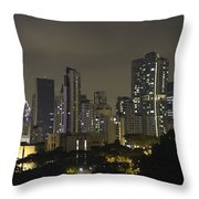 Skyline Of Singapore At Night As Seen From An Apartment Complex Throw Pillow