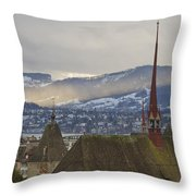 Skyline Of Zurich From The University Throw Pillow