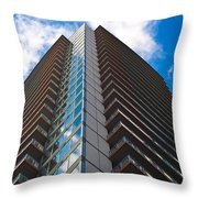 Skyscraper Front View With Blue Sky Throw Pillow